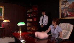 Japanese office hottie sucks before squirting