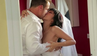 Sexy Asian bride screwed bad in her soaking vagina in beautiful white dress