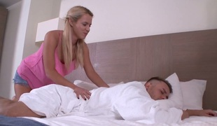 Cute babe Caroll screwed deep in a missionary and doggy positions