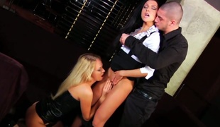 Nataly Gold widens her buttocks for Timo Hardy invitingly in anal action after oral job
