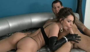 Brunette with massive bumpers shows her love for penis sucking
