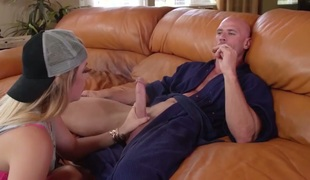 Johnny Sins shoots hos load after Saucy angel Jenna Ashley gives magic head job