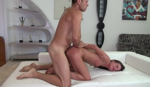 Nataly Gold gives unthinkable irrumation to horny bang buddy Rocco Siffredi by blowing his dong after anal fun