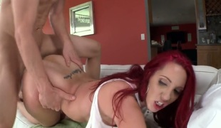 Asstastic redhead bitch Kelly Divine gets her soaking pussy nailed
