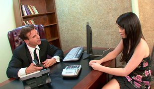 Cutie on his desk getting fucked hard in the office