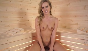 Constricted body sauna babe gives you sexy JOI