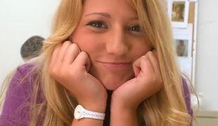 Blonde Neesa makes mans sexual fantasies come true with her help of her eager hands
