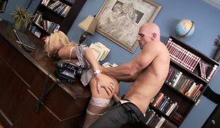Blonde Blake Rose with massive melons gives ass to horny as hell Johnny Sins after shlong sucking