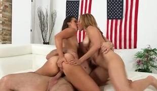 Dylan Daniels and Kelsi Monroe are fuck hungry large booty women. Curvy strumpets celebrate Independence Day with randy man and share share throbbing jock nearly hot threesome. Those hot butt ladies can't acquire enough.