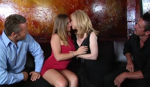 Captivating blonde with big milk sacks in stocking getting banged doggystyle in foursome