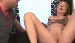 Red haired leggy hoe Victoria Daniels enjoyed hard core interracial 3 some