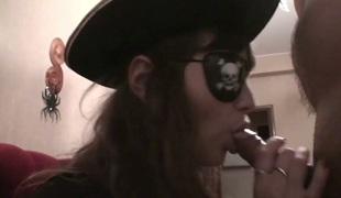 Sexy pirate Julia engulfing massive cock deepthroat in POV clip