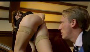 Stylish MILF Ava Courcelles fucked right next to her blind husband