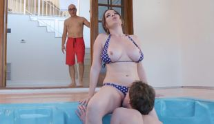 Eating out and fucking his busty stepmom in a sexy bikini