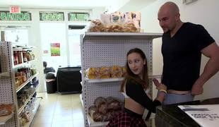 Lucky bald stud fucks a beautiful teenage girl in the mini market