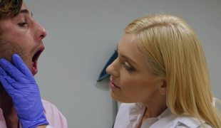 Blonde doctor sucks patient jock and copulates on the exam table