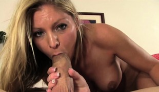 Bodacious blonde Brianna Brooks likes to tease and please a long wang