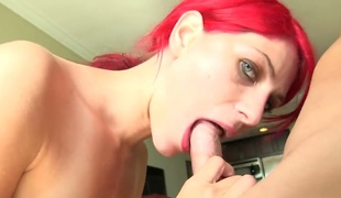 Redhead hoochie Aiyana Cassidy with diminutive mangos fucks like a pro in steamy hardcore action with hawt dude
