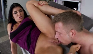 Romi Rain with gigantic scoops bonks the goo without fellows meat pole