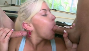 Blonde Shay Golden feels great with mans throbber fucking her hands hard