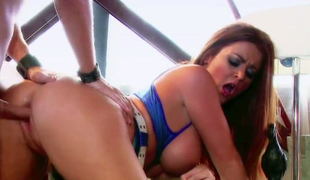 Sexually charged red haired babe Sophie Dee gets rammed hard