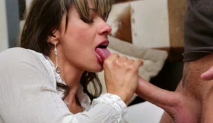 Salacious whore Keiran Lee licks nuts and swallows big dick