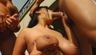 Mega breasty brunette hoe Jasmine Darksome sucks three hard schlongs