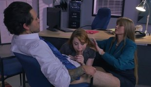 Milf boss and a sexy redheaded secretary fuck a guy