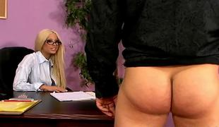 Sexy adult star Gina Lynn fucks with lucky guy in the office ALIVEGIRLcom