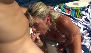 Blonde with huge hooters and clean twat is skilled sufficiently to make man cum again and again