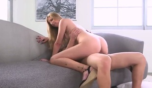 Blonde is not a whore but a porn diva who loves man goo so much