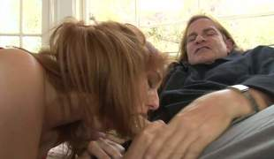Topless redhead Rose Red with enjoyable boobs gives head to an older guy. Long haired man Evan Stone gets his rock hard dick polished with her soft lips. Nasty Rose Red blows like a champ