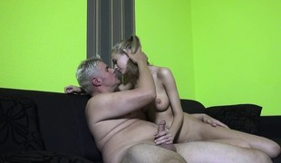 Hot slender blonde with big hooters Penelope has a passion for cock
