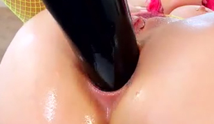 Delicious pink haired slut Proxy Paige receives her anus drilled with monstrous sex tool hard