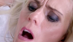 Incredibly sexy blond haired bombshell Dyana Hot asked brutal lover to nail her fanny tough