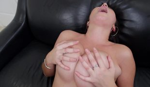 Latina with fine natural milk shakes is getting a really good titfuck