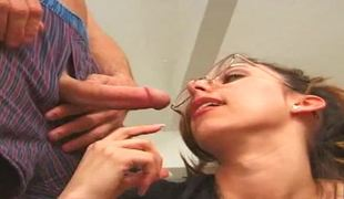 College doxy Kaylynn gets ball batter on her glasses