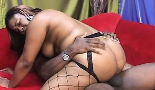 Curvaceous ebony honey in fishnets takes a biggest dark dick for a ride