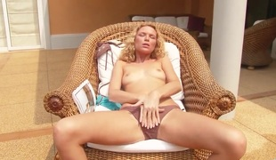 Summer Breeze with petite tities and shaved beaver moans as she copulates herself with fingers