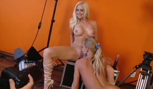 Adorably sexy harlot Stacy Silver and Silvia Saint do lewd things together