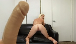 Huge dildo gets lots of use