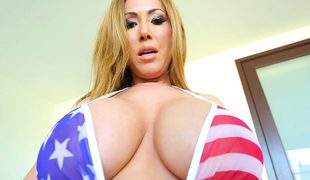Large tittied porn model Kianna Dior shows off her melons and plays with pussy
