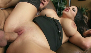 Juggy seductress Missy Martinez enjoys riding hard pantyhose
