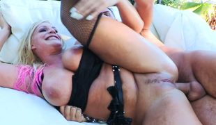Lecherous blond hoe Sadie Swede opens her butt aperture for lover's dick