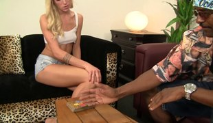 Hot skinny blonde screwed hardcore by a big black jock
