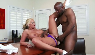 Large racked blonde mommy Phoenix Marie enjoys black dick