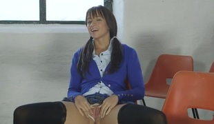 British schoolgirl gives u a boner flashing her pussy