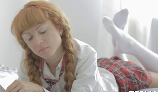 Redhead schoolgirl sucks pecker in sofa during the time that getting licked out