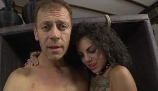 Bonnie Rotten and Valeria Visconti show each inch of their hot bodies to Rocco Siffredi. They shake their asses and bare their sweet tits. Flirtatious honeys make man happy