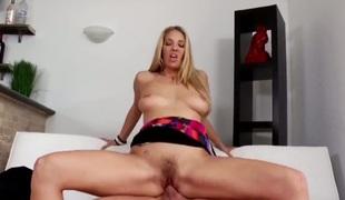 brunette blonde hardcore deepthroat blowjob